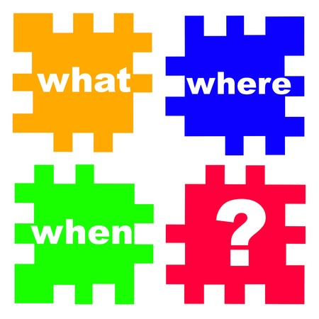 replies: main questions in business and real life in the puzzle game, concept picture Stock Photo