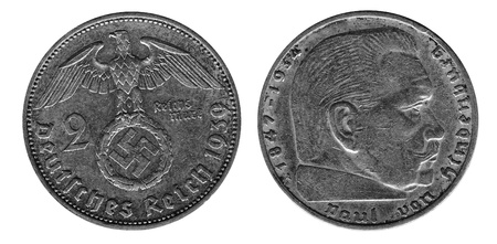 silver old coinof 3th Reich, 2 mark,Germany, 1939 year