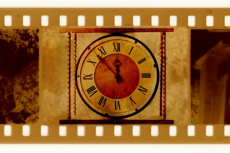 old 35mm frame photo with vintage clock photo