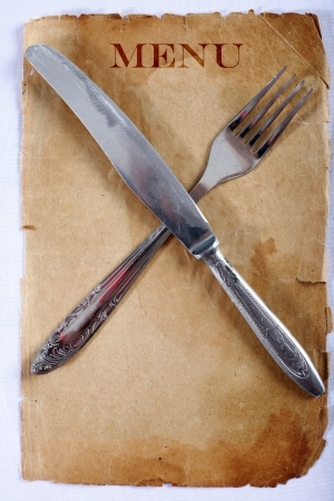 vintage nenu with knife and fork Stock Photo - 15741476