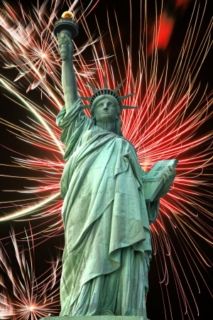 Statue of Liberty and fireworks in black sky Stock Photo - 15741500