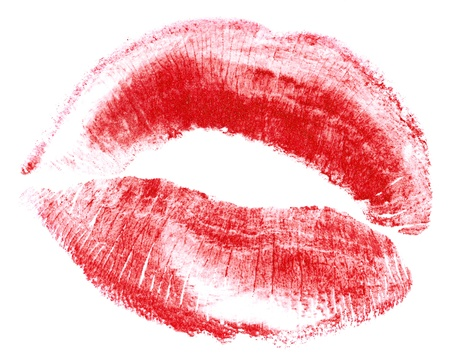 red lips isolated in white Stock Photo