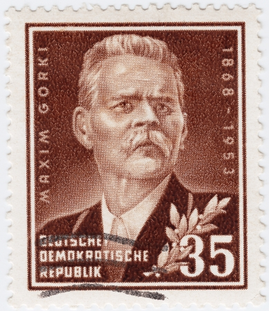 gorki: GERMANY - CIRCA 1953   stamp printed in Germany showing russian writer Maxim Gorki,circa 1953