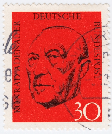 GERMANY - CIRCA 1992  stamp printed in the Germany, show Chancellor Konrad Adenauer, circa 1992 Stock Photo - 15724255