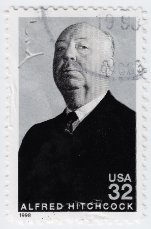 UsA - CIRCA 1998   stamp printed in USA show popular 1960s American wrighter  Alfred Hitchcock, circa 1998 Stock Photo - 15724236
