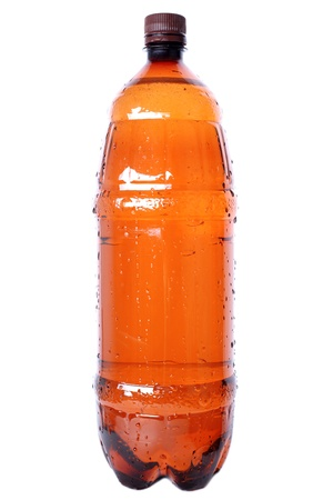 brown plastic bottle with cap isolated on white Stock Photo - 15727952