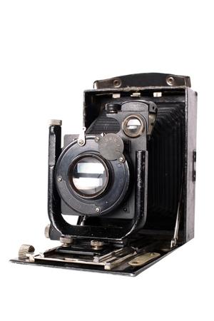folding camera: medium format retro camera isolated on white