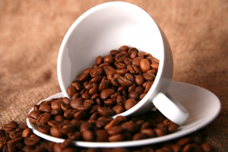 cup, dish and beans of coffee Stock Photo - 15728059