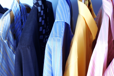 Mix color Shirt and Tie on Hangers Stock Photo - 15741488