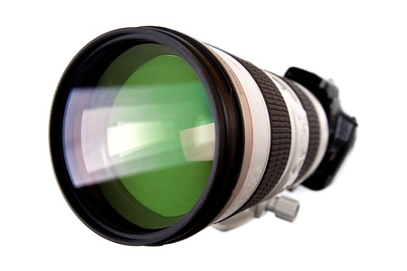 modern dslr digital camera with big lens isolated on white photo