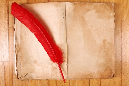 vintage Message Book with red feather pen on table photo