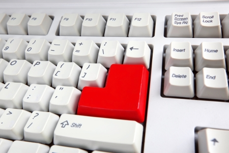 peripherals: Keyboard with red button