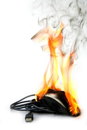 burning computer mouse photo