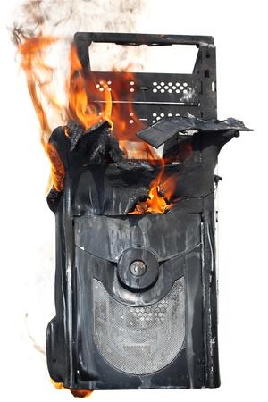 burning computer case photo