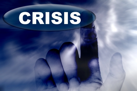 Hand and word crisis Stock Photo - 15781130