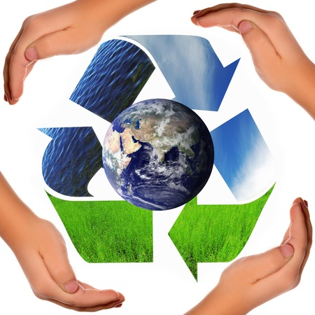 Save the world - Recycling symbol, globe and hands photo