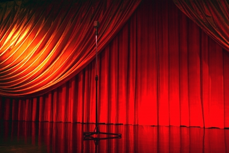 retro elegant theater with microphone photo
