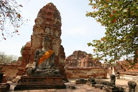 buddah: Monuments of buddah, ruins of Ayutthaya, old capital of Thailand Stock Photo