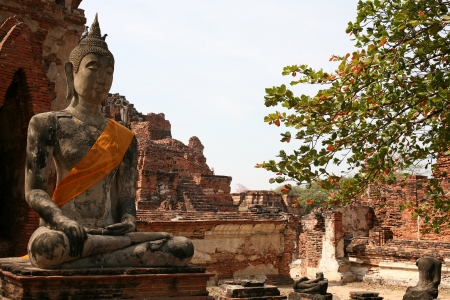 buddah: Monuments of buddah, ruins of Ayutthaya, old capital of Thailand Stock Photo