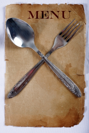 vintage menu with spoon and fork photo
