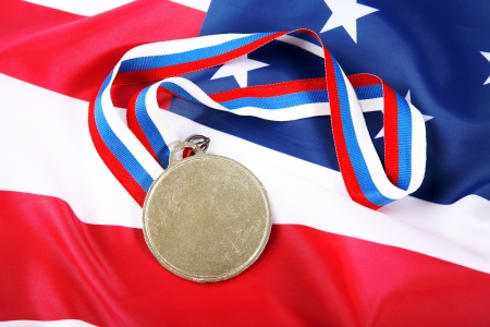 Medal with color Ribbon and USA flag Stock Photo - 15774617