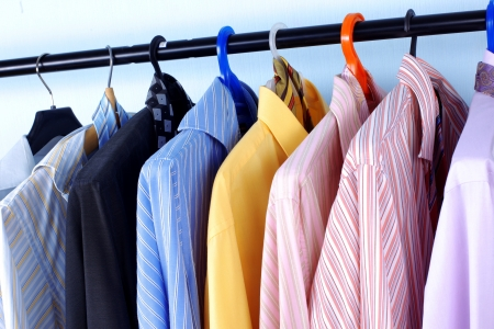 Mix color Shirt and Tie on Hangers photo