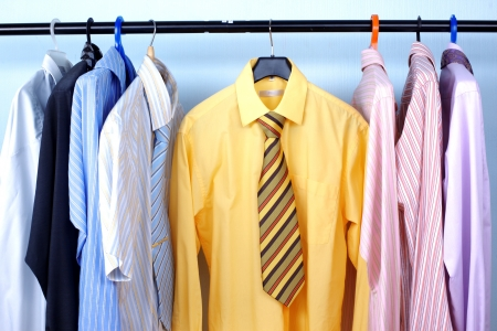 Next Day - Mix color Shirt and Tie on Hangers Stock Photo - 15777427
