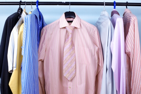 Next Day - Mix color Shirt and Tie on Hangers Stock Photo - 15777671