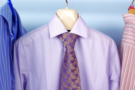 classic business style - mix color Shirt and Tie on Hangers Stock Photo - 15777897