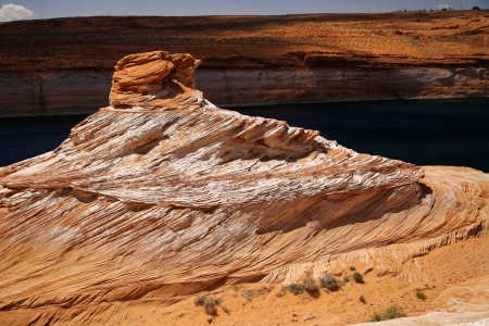 Rock at Colorado river in Glen Canyon before Lake Powell,  USA photo