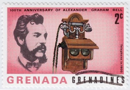 innovator: GRENADA - CIRCA 1997 : stamp printed in Grenada shows Alexander Graham Bell scientist, inventor, engineer, innovator and creator of the telephone, circa 1997  Stock Photo