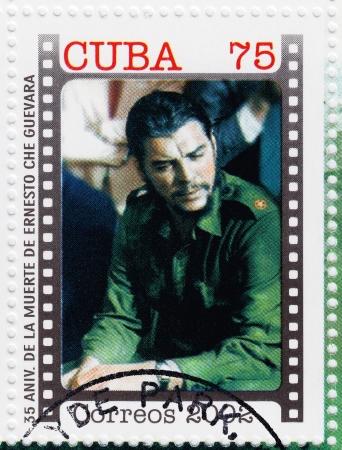 che guevara: CUBA - CIRCA 2002   stamp printed in Cuba, anniversary of the death of Che Guevara in Bolivia, Circa 2002 Editorial