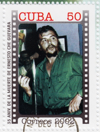 CUBA - CIRCA 2002   Stamp printed in Cuba, anniversary of the death of Che Guevara in Bolivia, Circa 2002