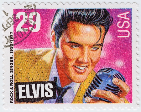 USA - CIRCA 1980   postage stamp printed in USA showing Elvis Presley, circa 1980  Editorial