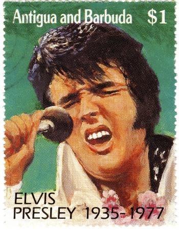elvis presley: vintage stamp with Elvis Presley