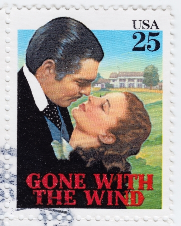 USA - CIRCA 1978   stamp printed in USA poster Vivien Lee and Clark Gable in film Gone with the Wind, circa 1978