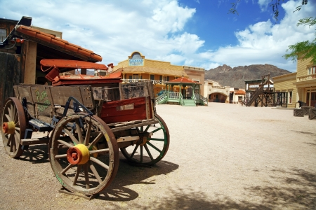 Antique american cart in old western city , Arizona, USA Editorial