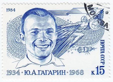 gagarin: RUSSIA - CIRCA 1984   stamp printed in Russia shows Russian astronaut Yuri Gagarin - first human in space, circa 1984 Editorial