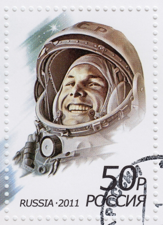 yuri: RUSSIA - CIRCA 2011   stamp printed in Russia shows russian astronaut Yuri Gagarin first human in space, circa 2011