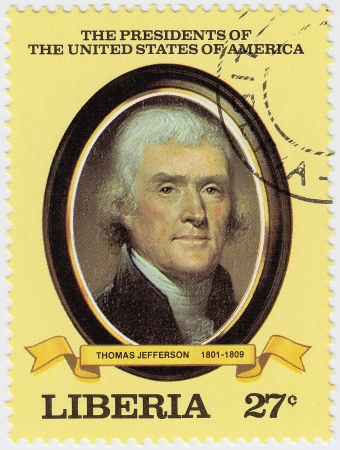 LIBERIA - CIRCA 2000   stamp printed in Liberia shows 3rd president of USA Thomas Jefferson, circa 2000