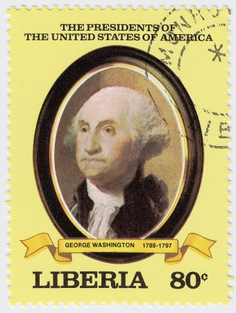 LIBERIA - CIRCA 2000   stamp printed in Liberia shows first president of USA George  Washington, circa 2000 Stock Photo - 15767998