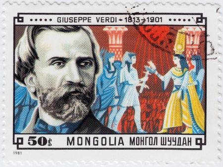 verdi: MONGOLIA - CIRCA 1981   stamp printed in Mongolia shows famous composer Giuseppe Verdi, circa 1981  Editorial