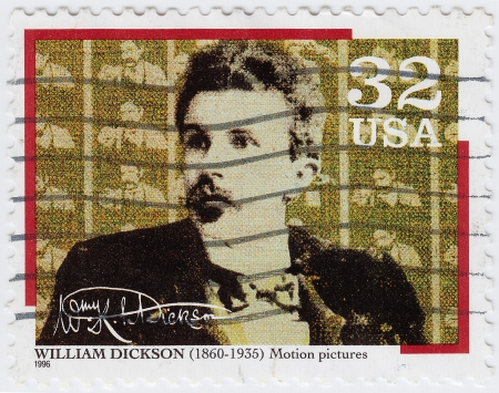 devised: USA - CIRCA 1996   stamp printed in USA shows William Kennedy Laurie Dickson inventor who devised an early motion picture camera, circa 1996