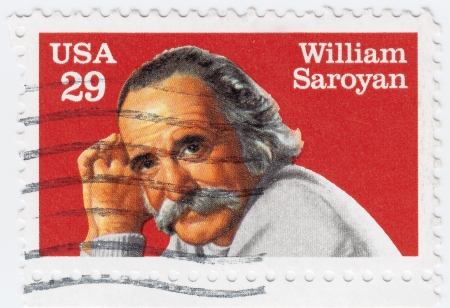 dramatist: USA - CIRCA 2008  stamp printed in the USA shows William Saroyan Armenian American dramatist and author, circa 2008 Editorial