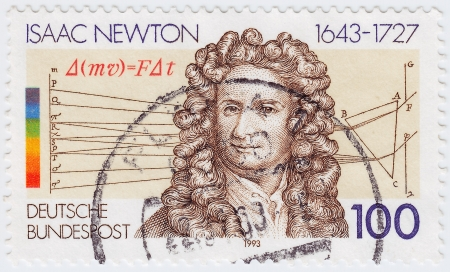 GERMANY - CIRCA 1993  stamp printed in Germany shows Sir Isaac Newton - great English physicist, mathematician, astronomer, natural philosopher, alchemist, and theologian, circa 1993  Stock Photo - 15768026