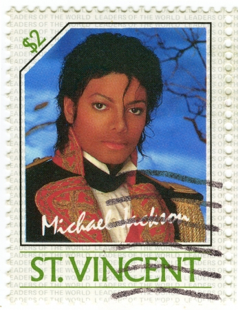 SAINT VINCENT - CIRCA 1985   stamp printed in St  Vincent with Michael Jackson , circa 1985