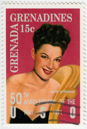 GRENADA - CIRCA 1991 : stamp printed in Grenada shows Ann Sheridan American film actress, circa 1991 Stock Photo - 15768009