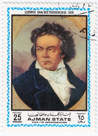 AJMAN - CIRCA 1972 : stamp printed in Ajman shows a portrait of Ludwig van Beethoven,  circa 1972 Stock Photo - 15767993
