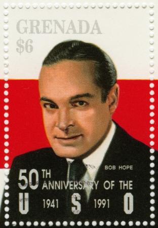 comedian: GRENADA - CIRCA 1991 : stamp printed in Grenada shows Bob Hope American  comedian and actor, circa 1991 Editorial
