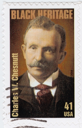 essayist: USA - CIRCA 2008: stamp printed in the USA shows Charles Waddell Chesnutt  American author, essayist, political activist and lawyer, circa 2008